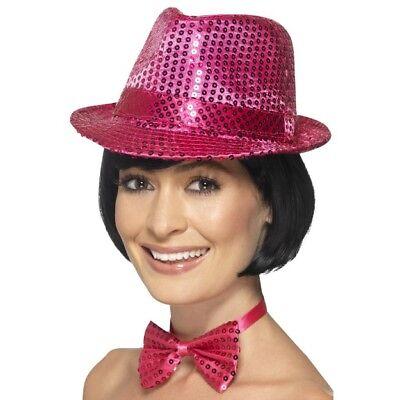 Women's Pink Fancy Dress Sequin Hat & Bow Tie Dance Show Hen Night Concert Theme ()