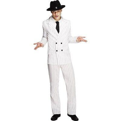 Mens Fever Gangster Costume White Suit Fancy Dress Fun Gatsby 20s Mafia Stag Do - Gatsby Costume Mens