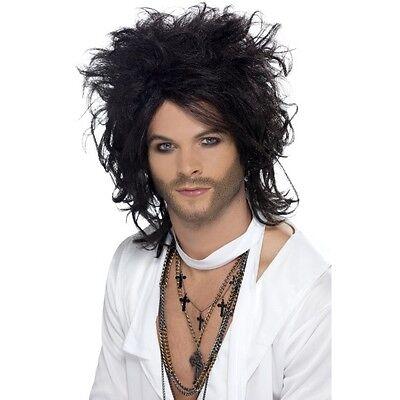 Mens Sex God Wig Fancy Dress Costume Russell Black Messy Long Brand Rocker - Russell Kostüm