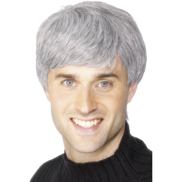 Mens Corporate Wig Grey Father Ted Schofield Old Man Costume Fancy Dress Grandad