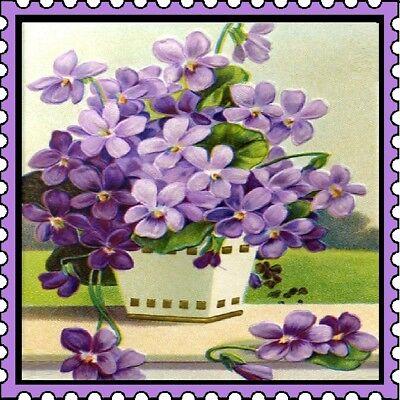 30 Custom Vintage Purple Flowers Stamp Art Personalized Address Labels