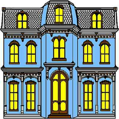 30 Custom Blue Victorian House Personalized Address Labels