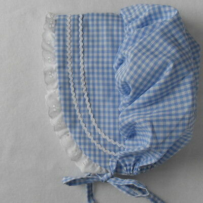 Baby Bonnet Sunhat Sunbonnet BLUE GINGHAM hat sz nb,3,6,9,12,18 (Gingham Baby Hats)