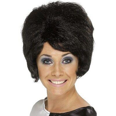 Women's 60's Black Beehive Wig Hen Short Mod Pin Up Model Glamour Rock Hippy Fun (60's Pin Up Kostüm)