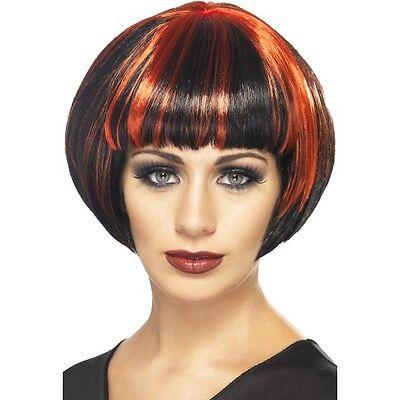 Womens Quirky Bob Wig Black & Red Short Blunt Fringe Fancy Dress Beauty Model