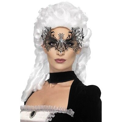 Womens Black Widow Web Eye Mask Fancy Dress Masquerade Spider Vampire (Masquerade Vampir Kostüme)
