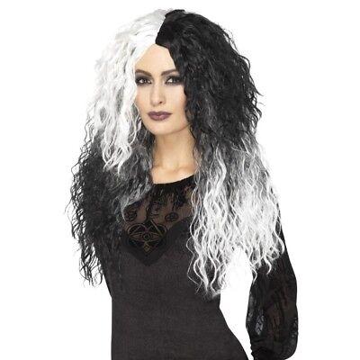 Women's Glam Wavy Black & White Witch Wig Halloween Gothic Fancy Dress Hen Fun  ()
