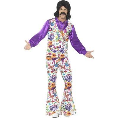 60's Style Halloween Costumes (NEW 60's Style Groovy Hippie Costume - Men's Halloween Fancy Dress Costume)