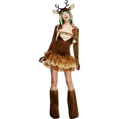 Christmas Themed Costumes (Women's Fever Reindeer Fancy Dress Costume Christmas Santa Father Xmas Hen)