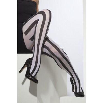 Schwarz und Weiß Gestreifte Strumpfhosen Damen Geist Kostüm - Schwarz Und Weiß Gestreifte Kostüm