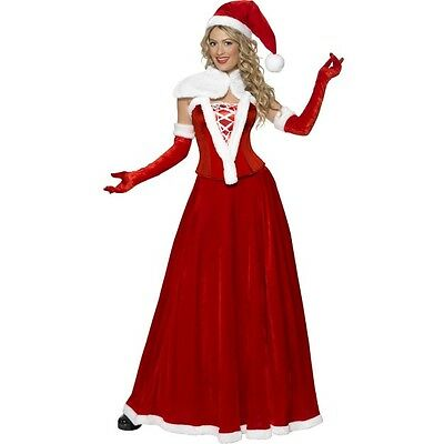 Adult Womens Luxury Miss Santa Costume Christmas Mrs Clause Outfit Fancy Xmas (Miss Clause Costume)