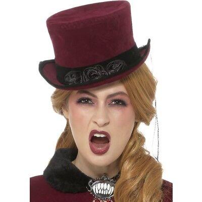 Burgund Viktorianisch Vampirin Hut mit Schleier Erwachsene Vampir Kostüm