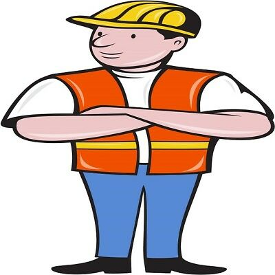 30 Custom Cartoon Construction Worker Personalized Address Labels