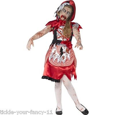 Girls Zombie Miss Hood Halloween Costume Little Red Scary Outfit Fairytale Kids