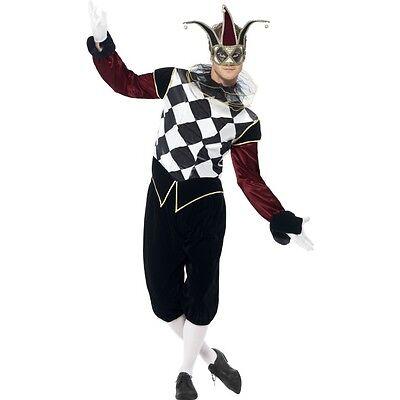 Men's Gothic Venetian Harlequin Male Fancy Dress Costume Halloween Joker Stag  (The Joker Halloween Costume For Men)