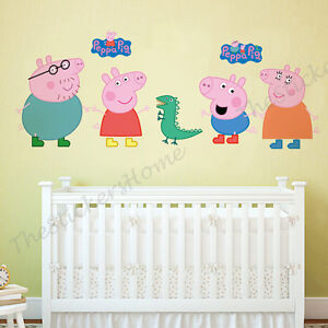 Large PEPPA PIG Wall Stickers Girls Kids Bedroom Nursery Decor Art Mural Decal