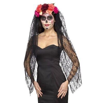 Tag der Toten Stirnband mit Rosen & Schleier Halloween Kostüm ()
