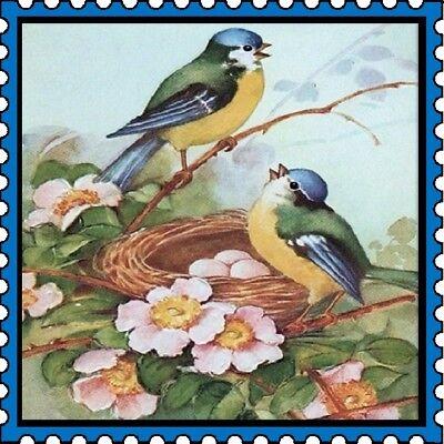 30 Custom Vintage Bird Stamp Art Personalized Address Labels