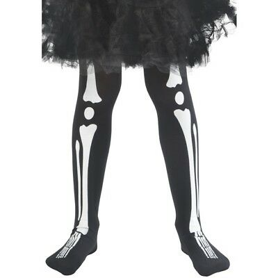 schwarz weiß Skelett Knochen Strumpfhose Mädchen Kinder Halloween Kostüm Zugriff