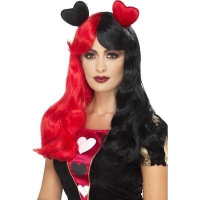 Perücke Rot Schwarz Zweiton Lang Damen Märchen Kostüm (Lange Königin Der Herzen Kostüm)
