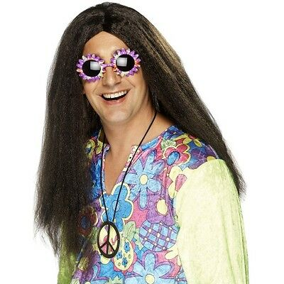 Kostüme Center (Mens 60's Brown Hippy Wig Long Peace Fancy Dress Beatles Centre Parting Hippie)