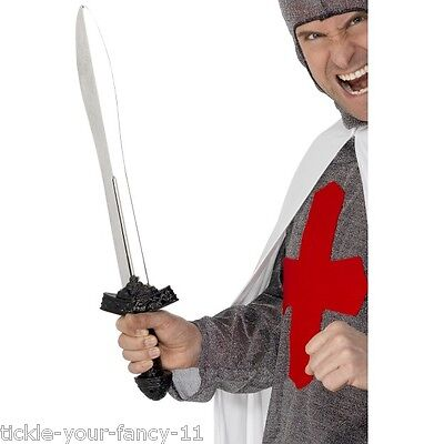 Men's Silver Blade Weapon Sword Medieval St George's Day Stag Knight Fancy - St George's Day Fancy Dress Kostüm