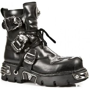 NEWROCK-New-Rock-407-S1-Silver-Cross-Black-Leather-Boots
