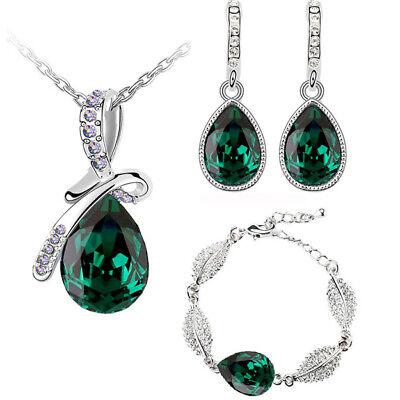 Smaragd Grün Glänzend Damen Kostüm Schmuckset Ohrringe Halskette Armband - Smaragd Grünen Kostüm Schmuck Sets