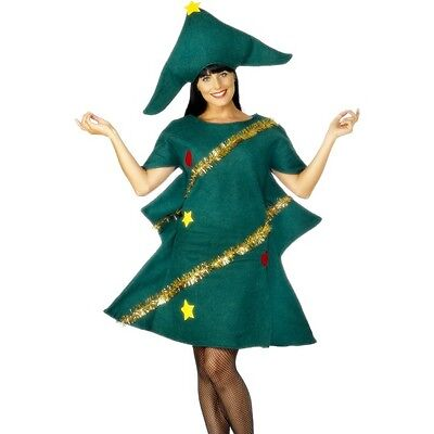 Women's Christmas Tree Fancy Dress Costume Santa Father Xmas Hen Theme Party Fun ()