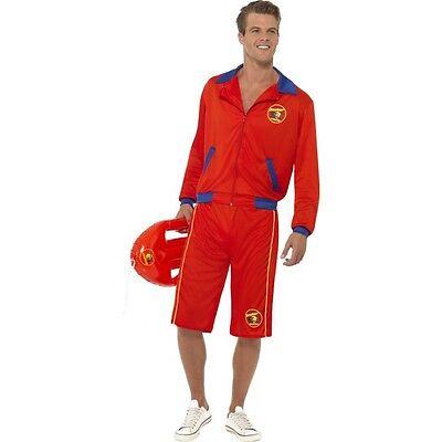 Men's Licensed Long Baywatch Lifeguard Hasselhoff Fancy Dress Costume 1990's TV