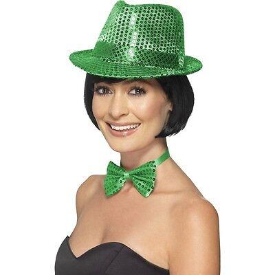 Women's Green St Patrick's Day Sequin Trilby Hat & Bow Fancy Dress Hen Night - Womens St Patricks Day Kostüm
