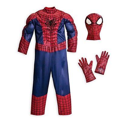 NEW  Disney Store Superhero Amazing SPIDERMAN Deluxe Costume  size 4 - Spiderman Costume Deluxe