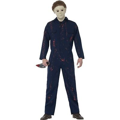 Mens Michael Myers Halloween Horror Boiler Suit Mask Knife Fancy Dress - Michael Myers Costume