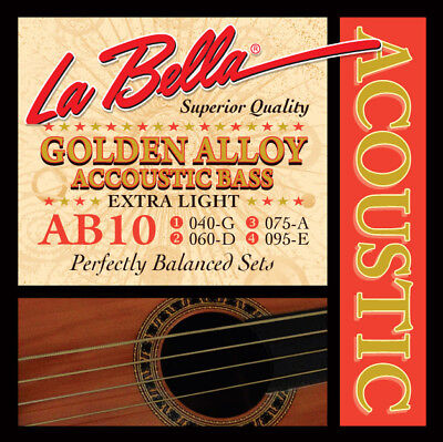 La Bella AB10 Acoustic Bass, Golden Alloy Acoustic Bass Strings - Extra (Ab 10 Acoustic Bass)