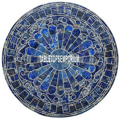 48'' Marble Dining Corner Table Top Lapis Stone Random Art Inlay Marquetry Decor
