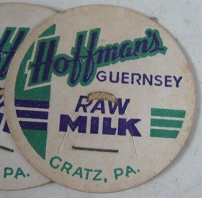 5 1930's-40's Milk Bottle Caps Hoffman's Guernsey Milk Cratz, PA