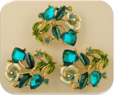 Rose Flower Beads Aquamarine Swarovski Crystal Elements Gold 2 Hole Slider QTY 3, used for sale  Shipping to South Africa