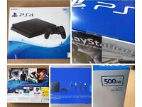 Brand new PS4 500GB Jet Black unopened and still sealed. Comes with Konami Pro Evolution Soccer 2017