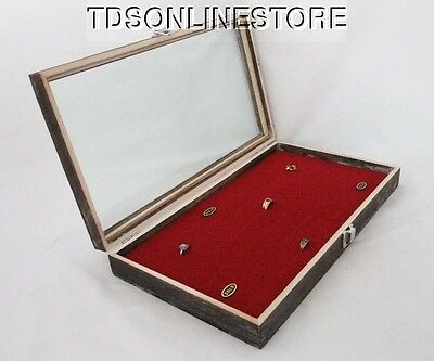 Rustic Antique Coffee Color 72 Ring Glass Top Display Case Red Insert
