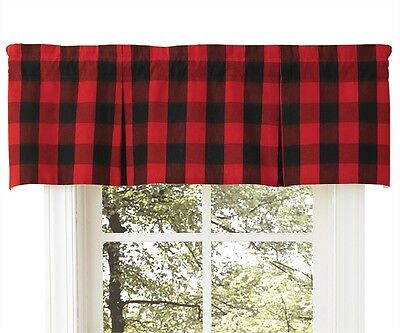 Window Curtain - Box Pleat Valance - Buffalo Check by Park Designs - Red Black