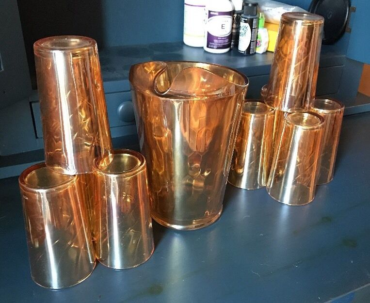 VTG Jeanette Glass Pitcher and 9 tumblers Matching SET Iridescent
