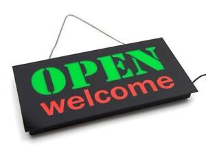 LED OPEN & Welcome Sign - Green / Red Lights - 17'' X 9'' - Ship Across Canada