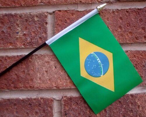 "BRAZIL HAND WAVING FLAG Small 6"" x 4"" with black pole BRAZILIAN South America"