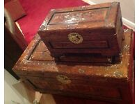 LARGE HEAVILY CARVED WOODEN CHEST COFFERS