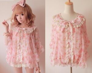 Girls Kawaii Princess Cute Sweet Dolly Lolita Floral Chiffon Lace shirt Cape Top