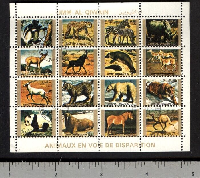 Topical Stamps Endangered Animals Ii Miniature Sheet Of 16 Stamps Cto Orangutan Hyena Sloth Stamps