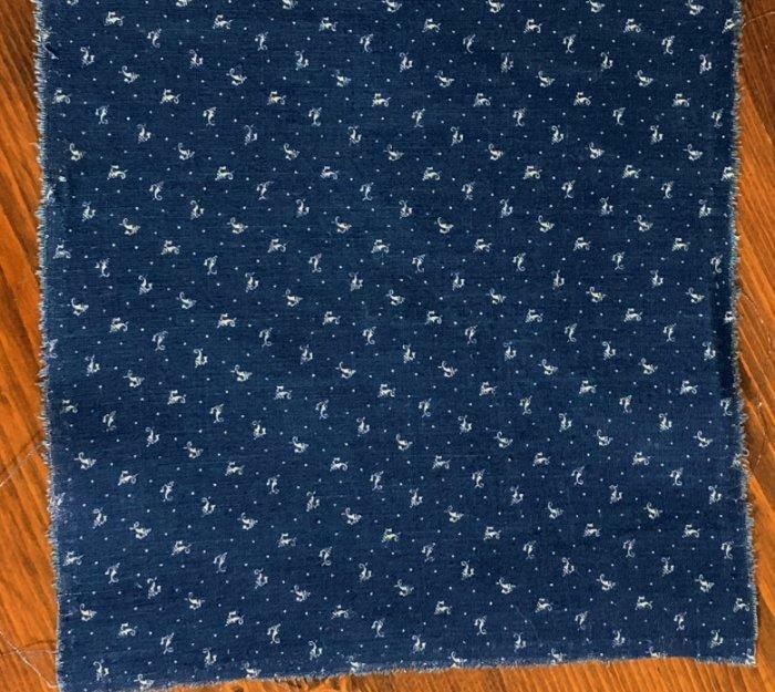 "Antique Fabric 19thc Indigo Blue Dot & Squiggle Calico Quilt Doll 8""x8"" 4 availa"
