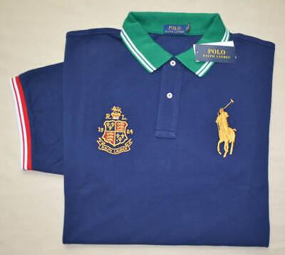 Nuevo Grande L Polo Ralph Lauren Pony Camisa Top Azul Corte Clásico...