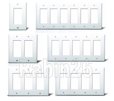 Gang White Wall Plate (DECORA GFCI PLASTIC WALL COVER PLATE 1 2 3 4 5 6 GANG TOGGLE PLUG OUTLET)
