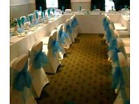 *rental* 50x off white cream spandex chair covers and sashes